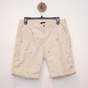 H&M Palm Tree Patterned Tan Shorts